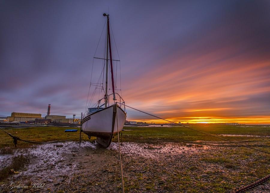 Waiting for the tide by Graham Kidd - Transportation Boats ( clouds, sunrise, boat, golden )