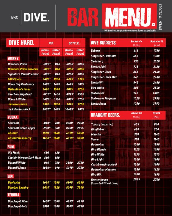 Dive BKC menu 4