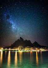Photo: Arriving in Bora Bora in the South Pacific late in the night...  I just got to Bora Bora and this is the view from the amazing +Four Seasons Hotels and Resortshere. I took this from the Sunset Bar, which is quickly becoming my favorite spot! :)
