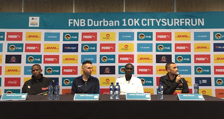 Runners Thabang Mosiako, Julien Wanders, Joshua Chetegei and Elroy Gelant at the FNB Durban 10K CITYSURFRUN elite athletes press conference on Friday morning.
