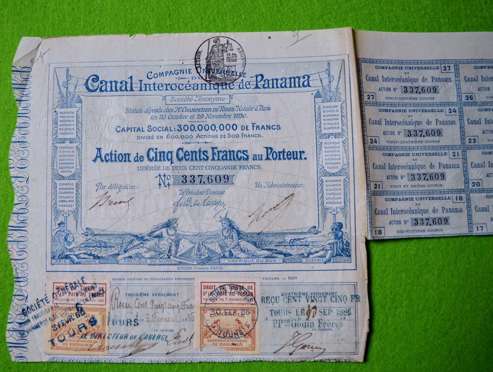 Aktie - Canal Interocéanique de Panama - 1880