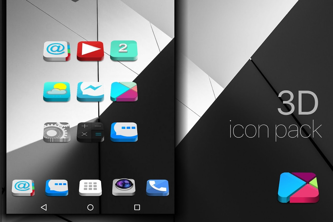 nougat 3d icon pack theme hd android apps on google play. Black Bedroom Furniture Sets. Home Design Ideas