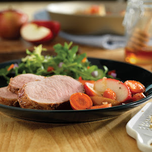 Honey-Ginger Pork with Carrots and Apples