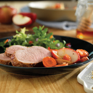 Honey-Ginger Pork with Carrots and Apples.
