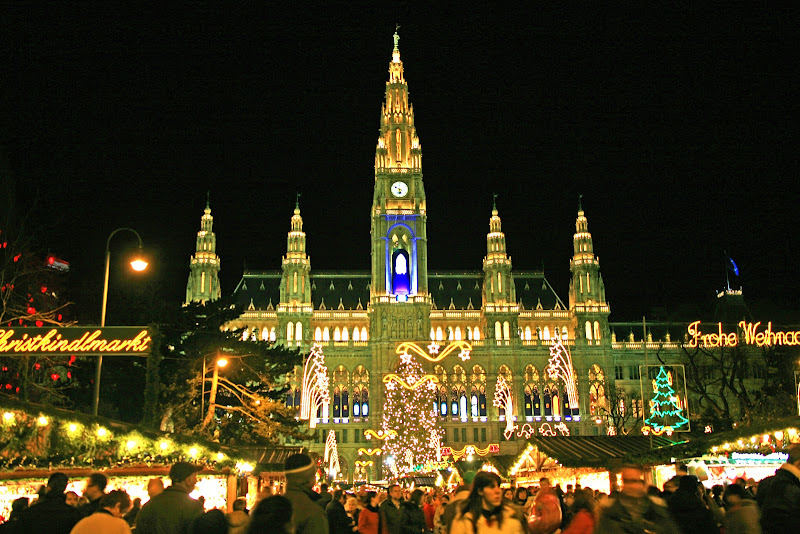 Vienna's Rathausplatz -- main square -- is ablaze with Christkindlmarkt light