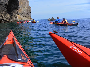 Photo: Conditions so good that we can safely get right up to the base of the cliffs
