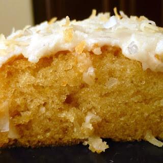 Vanilla coconut Texas sheet cake.