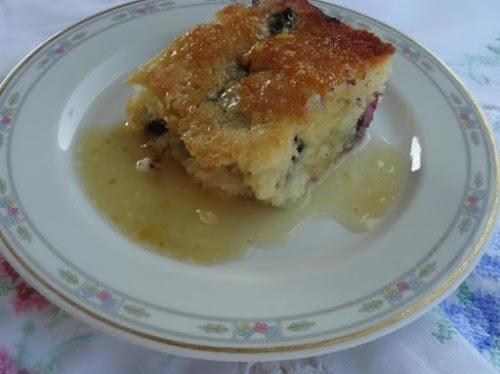 """Blueberry Cake with Vanilla Butter Sauce """"This recipe is a keeper! Easy..."""