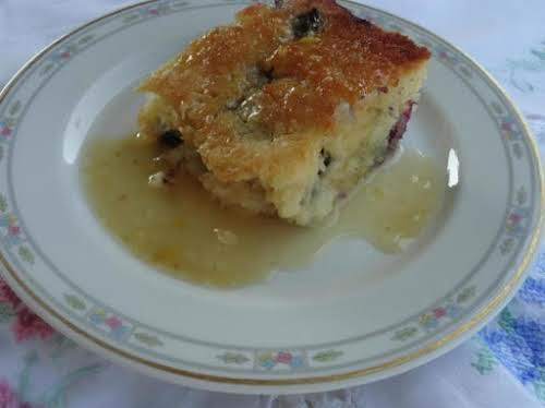 "Blueberry Cake with Vanilla Butter Sauce ""This recipe is a keeper! Easy..."