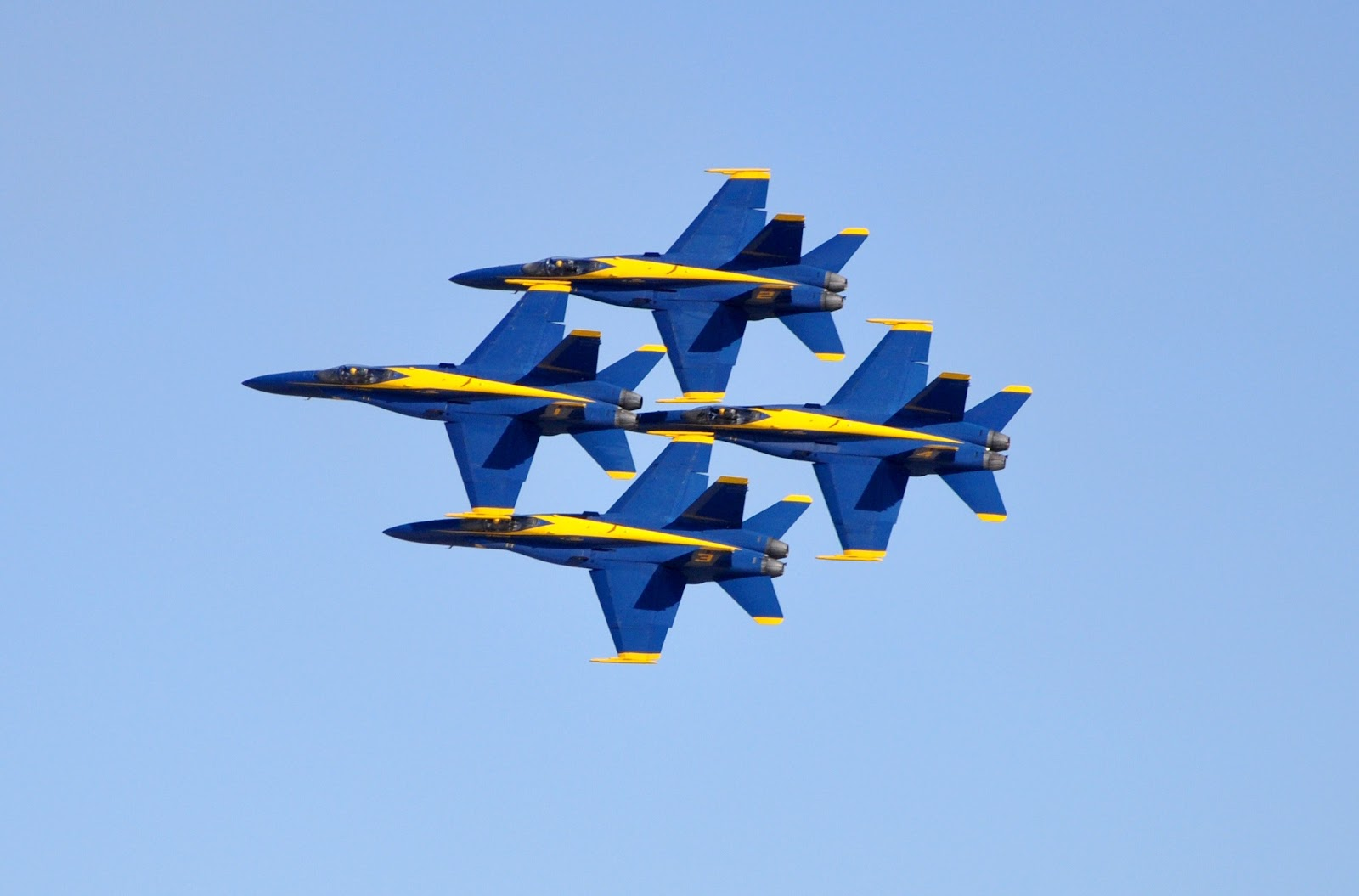 The Blue Angels fly in formation