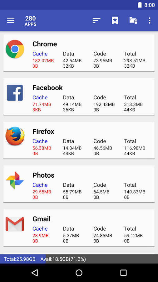 list applications by either cache, data, code, total size or app name