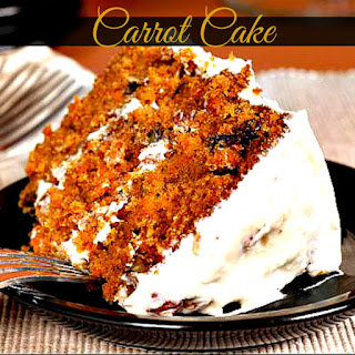 Homemade Carrot Cake With White Chocolate Cream Cheese Frosting.