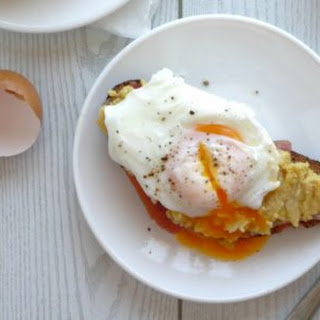 Ham, Smashed Chickpea and Poached Egg Breakfast Toasts.