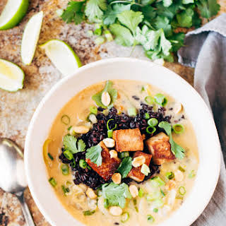 Ginger + Lemongrass Infused Thai Soup With Crispy Tofu And Wild Rice (vegan + Gluten Free).