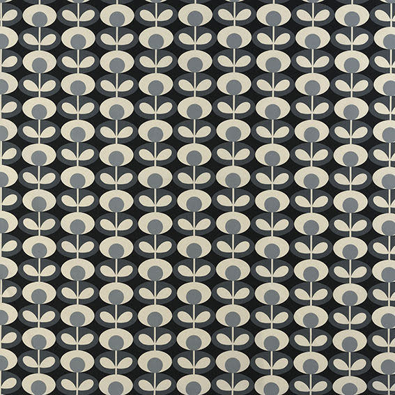 Oval Flower av Orla Kiely - cool grey