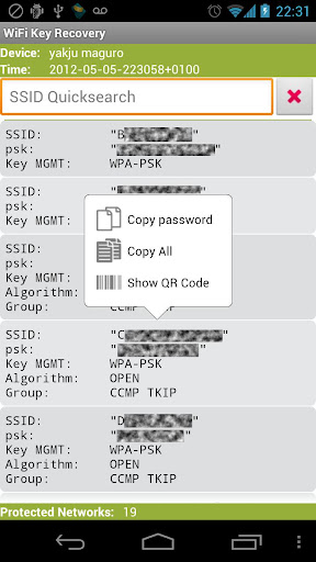WiFi Key Recovery (needs root) 0.0.8 screenshots 2