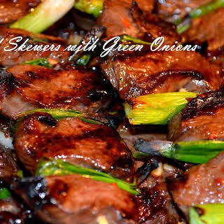 Grilled Beef Skewers with Green Onions.