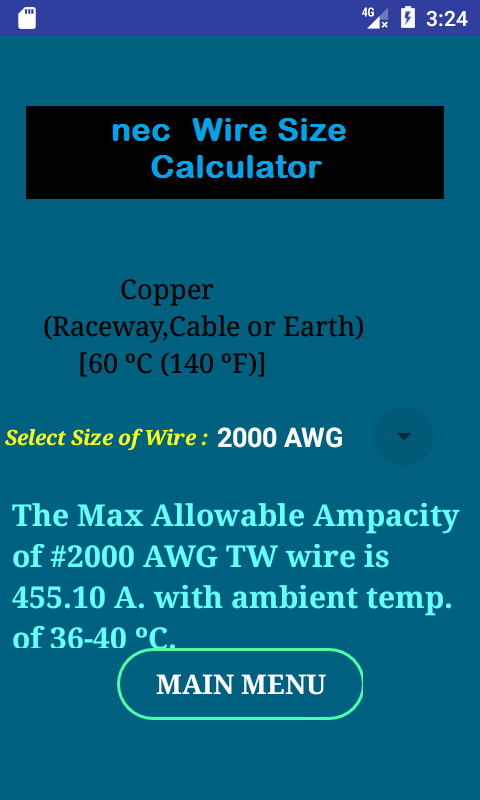 Nec wire size calculator free android apps on google play nec wire size calculator free screenshot greentooth Images