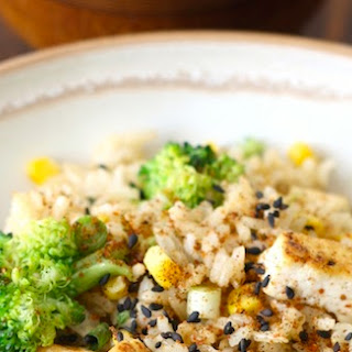 Garlicky Tofu Fried Rice with Japanese Seven Spice
