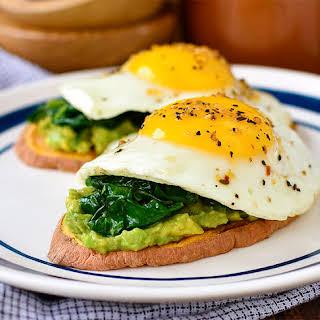 Avocado, Egg and Spinach Sweet Potato Toasts.