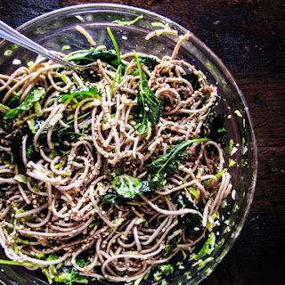 Soba Noodles with Kale, Slivered Brussels Sprouts and Sesame Dressing