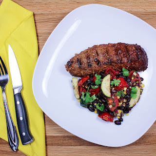 Steak with Grilled Corn Zucchini Salad