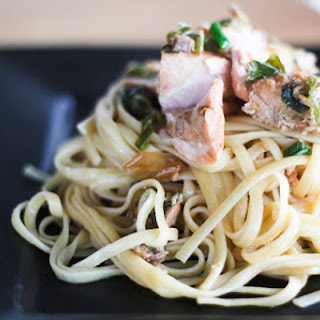 Japanese Salmon over Linguine