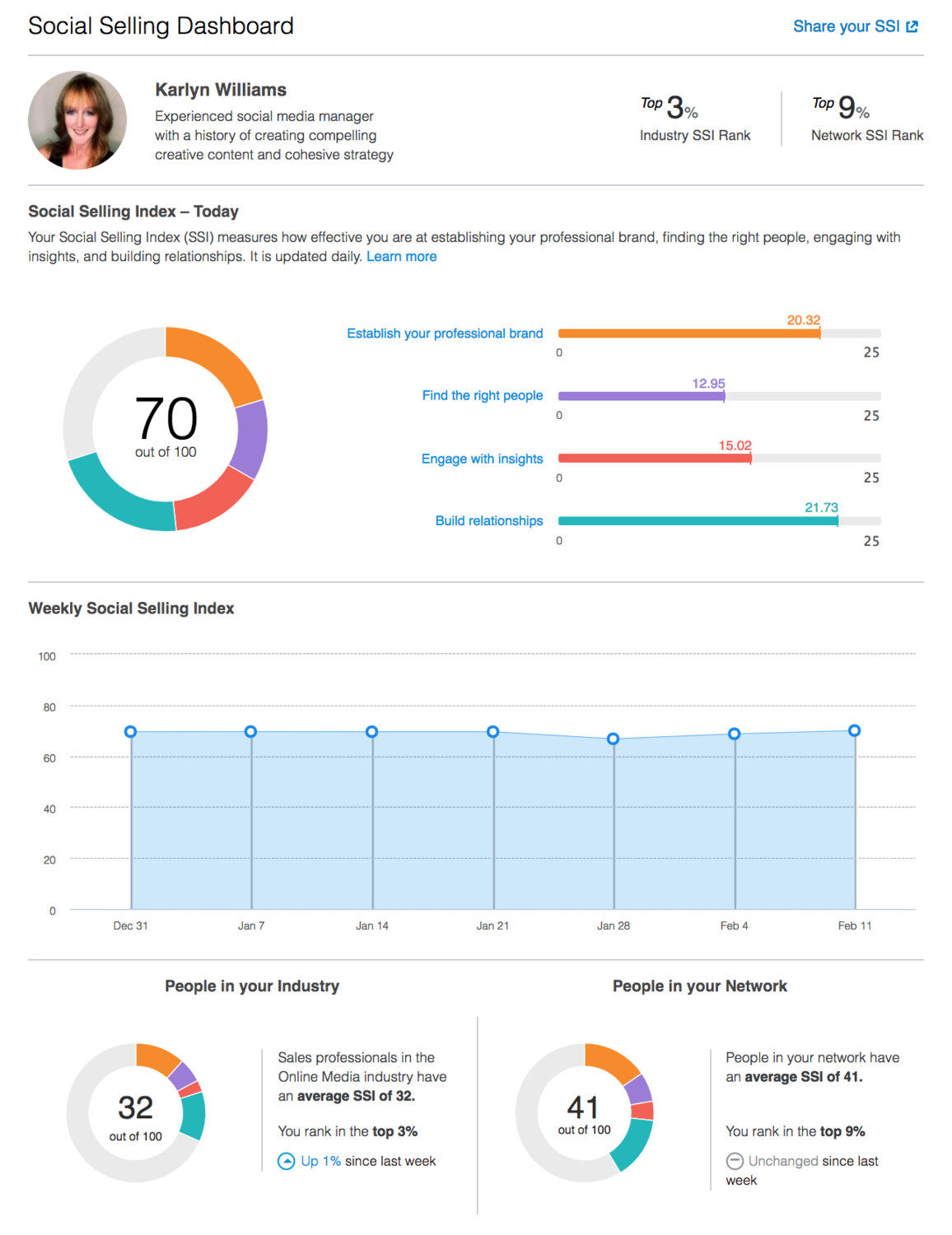 An example of a LinkedIn SSI score.