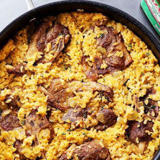 Mom's One Pot Oven-Baked Risotto with Lamb Chops.