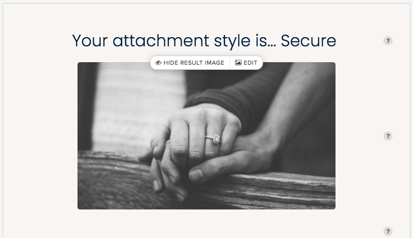 quiz result for Secure attachment style and couple holding hands