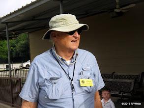 Photo: Dennis Cranston, ready to be a conductor.   HALS Public Run Day  2016-0716  RPWhite