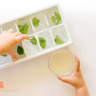 Mint Lemonade with Raw Honey and Mint Ice Cubes.