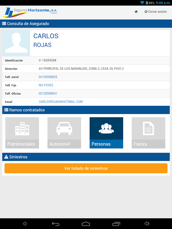 Horimovil - Asegurados- screenshot