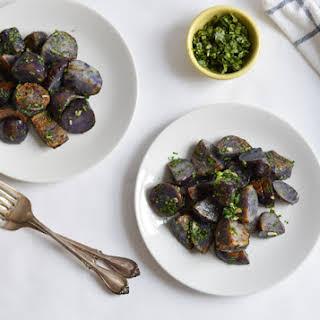Pan-Fried Purple Potatoes with Cilantro Gremolata.