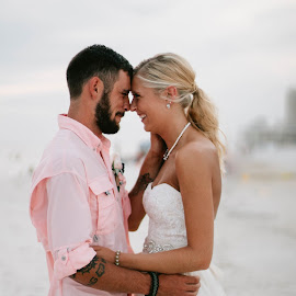 Beach Bliss by Autumn Wright - Wedding Bride & Groom ( bride, love, groom, beach, wedding )