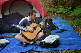 Photo: Playing the guitar at Townshend State Park by Linda Carlsen-Sperry.