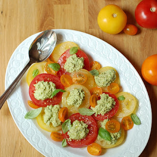 "Tomato Salad with Sweet Pea ""Ricotta"""