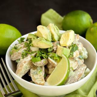 Roasted Potato Salad with Avocado Lime Dressing