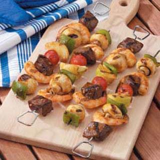 Steak and Shrimp Kabobs.