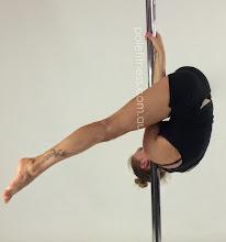 Photo: Margarita Verpopoulos - Monkey Flip with Straddle leg line - Vertical Pole Gymnastics @ Pole Fitness Studios