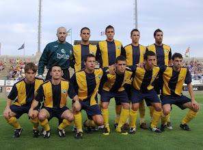 Photo: Alineación Palamos-Espanyol. Arriba: Bayona, Borges, Marc Vila, Ritxi y Roca. Abajo: Subi, Elies, Ferran, Joel, Micalo y Venzal.