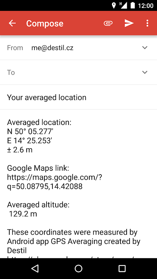 GPS Averaging- screenshot