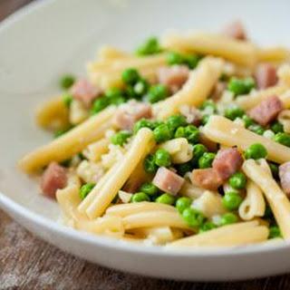 Pasta Carbonara with Ham and Sweet Peas