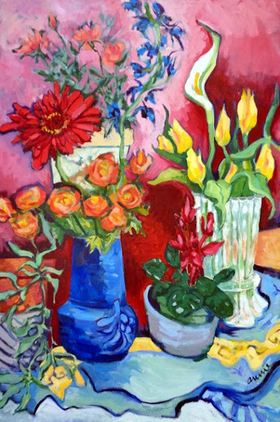 "First Place: ""Flowers in the Studio"" Oil on Canvas by Annie Scheumbauer."