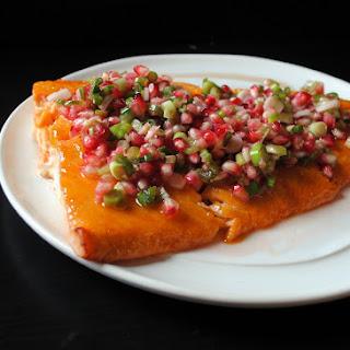 Apricot-Glazed Salmon with Pomegranate-Scallion Relish