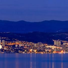 by Dražen Škrinjarić - City,  Street & Park  Vistas ( water, hills, blue hour, twilight, croatia, sea, cityscape, panorama )