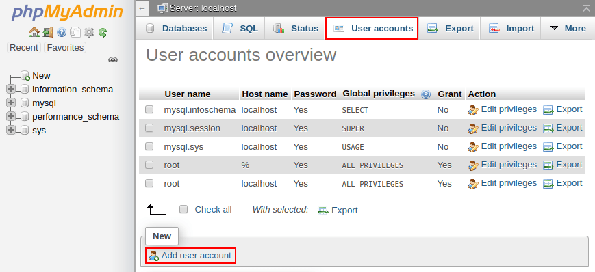 add db user for drupal