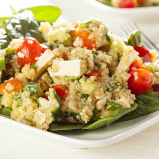 Quinoa Salad with Roasted Peppers, Tomatoes and Cucumber