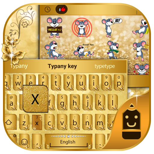 Golden ButterflyTheme Keyboard