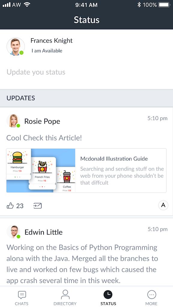 Status-Screen